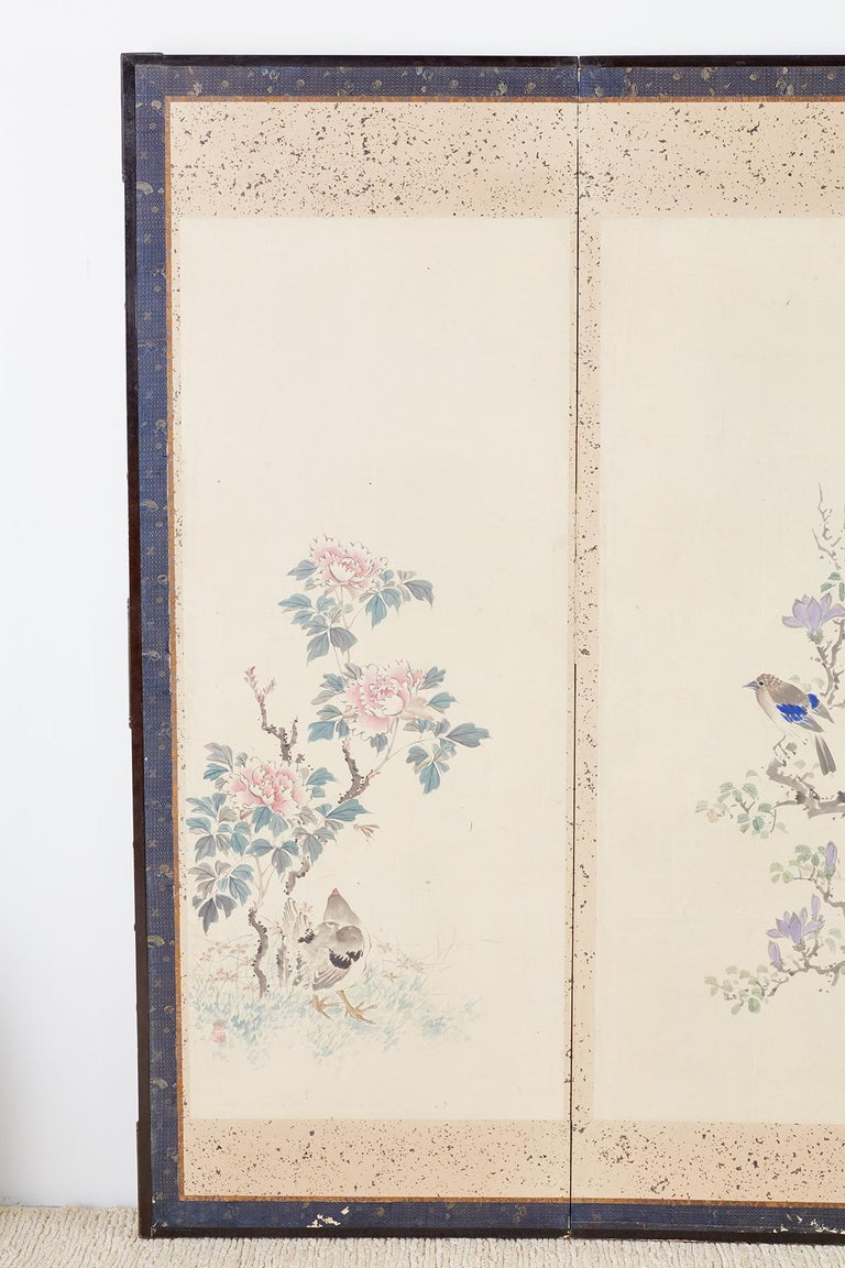 Lacquered Japanese Six-Panel Meiji Screen of Flora and Fauna For Sale