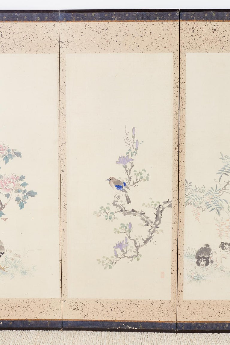 Japanese Six-Panel Meiji Screen of Flora and Fauna In Good Condition For Sale In Oakland, CA