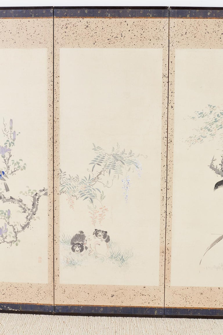 19th Century Japanese Six-Panel Meiji Screen of Flora and Fauna For Sale