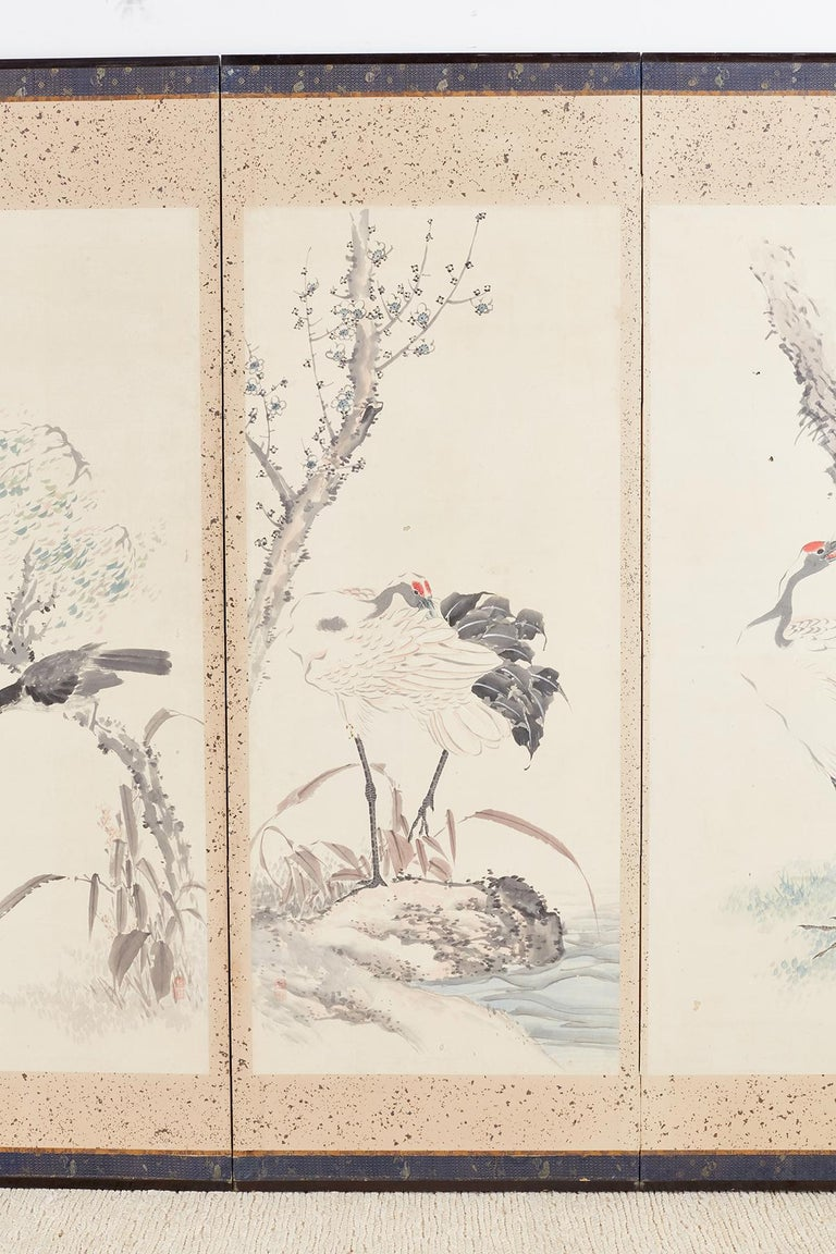 Japanese Six-Panel Meiji Screen of Flora and Fauna For Sale 1