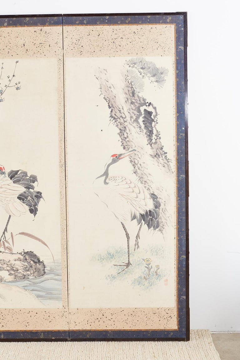 Japanese Six-Panel Meiji Screen of Flora and Fauna For Sale 2
