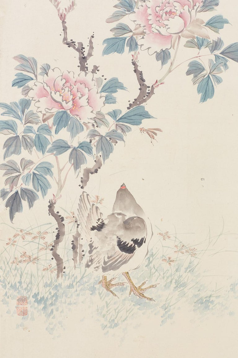 Japanese Six-Panel Meiji Screen of Flora and Fauna For Sale 3