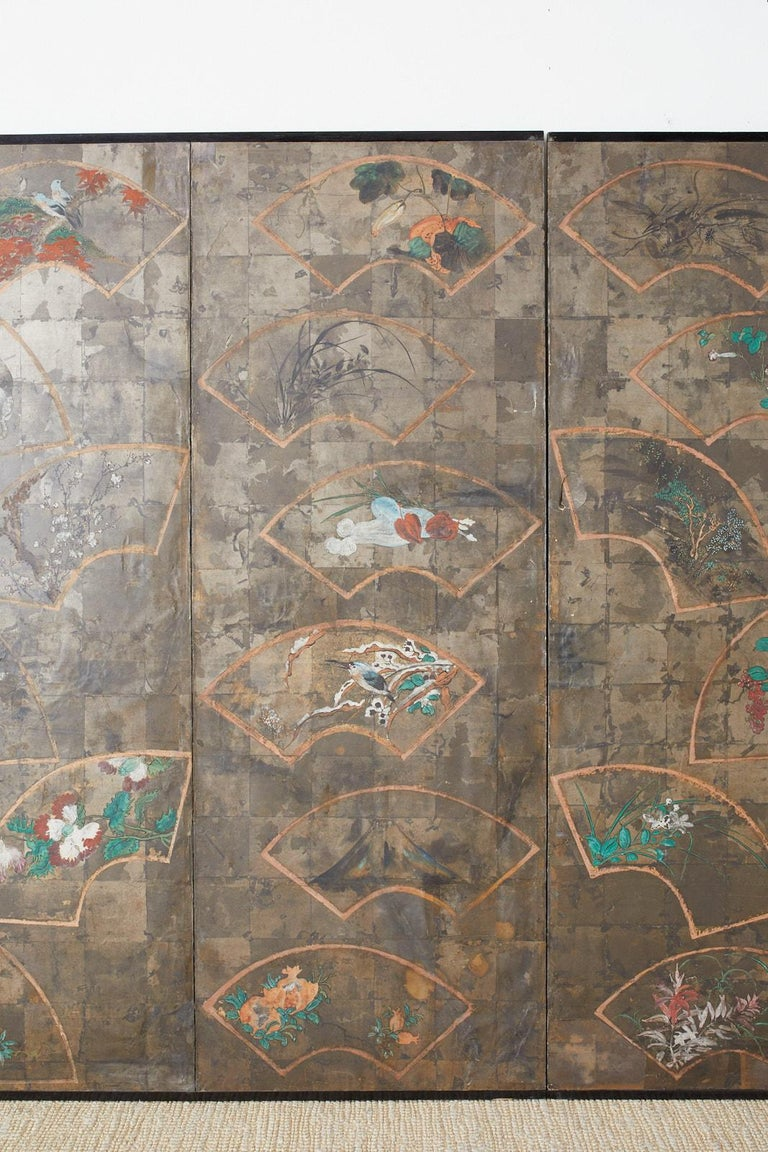 Silver Leaf Japanese Six Panel Meiji Screen of Scattered Fans For Sale