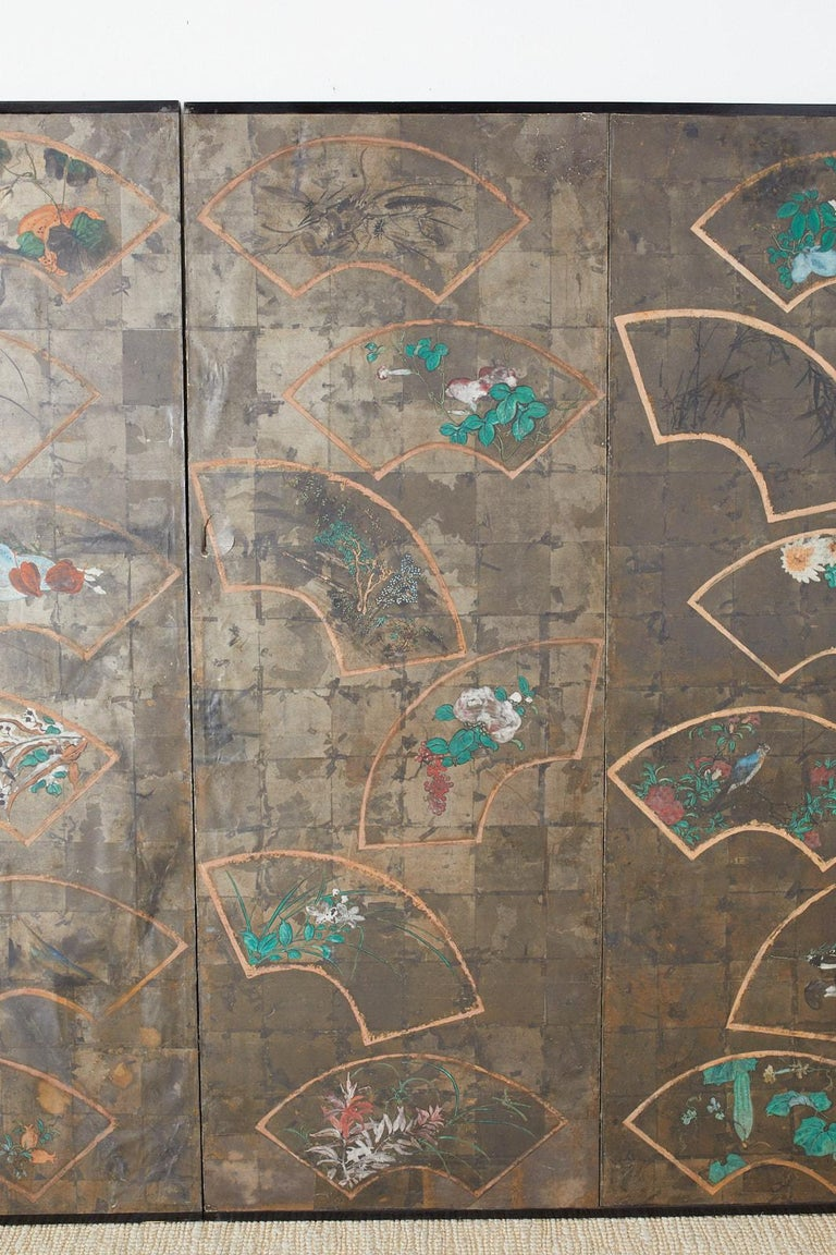 Japanese Six Panel Meiji Screen of Scattered Fans For Sale 1