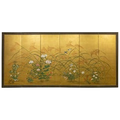 Japanese Six-Panel Screen, a Garden for All Seasons