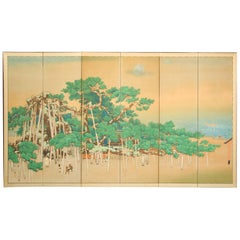Japanese Six Panel Screen, Ancient Pines on the Shore under Silver Moon
