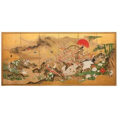 Japanese Screen: Animals and Flowers in a Landscape with Rising Sun