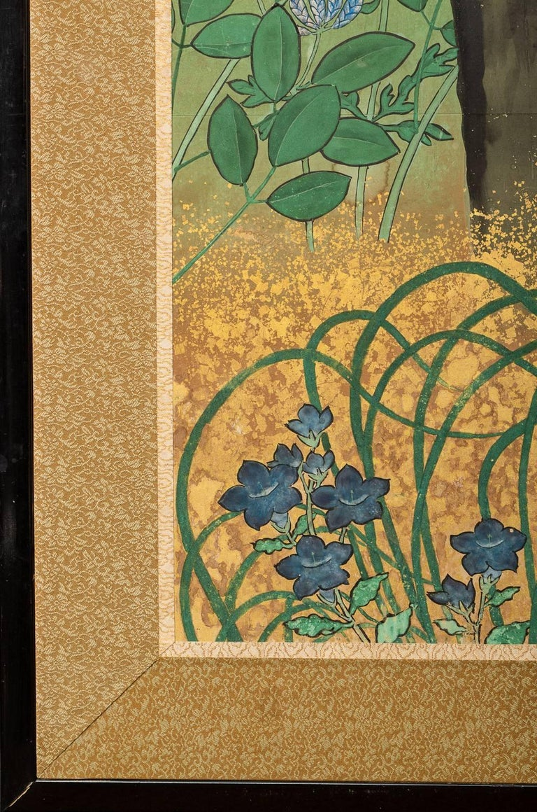 Japanese Six Panel Screen: Pheasants In an Autumn Landscape For Sale 4