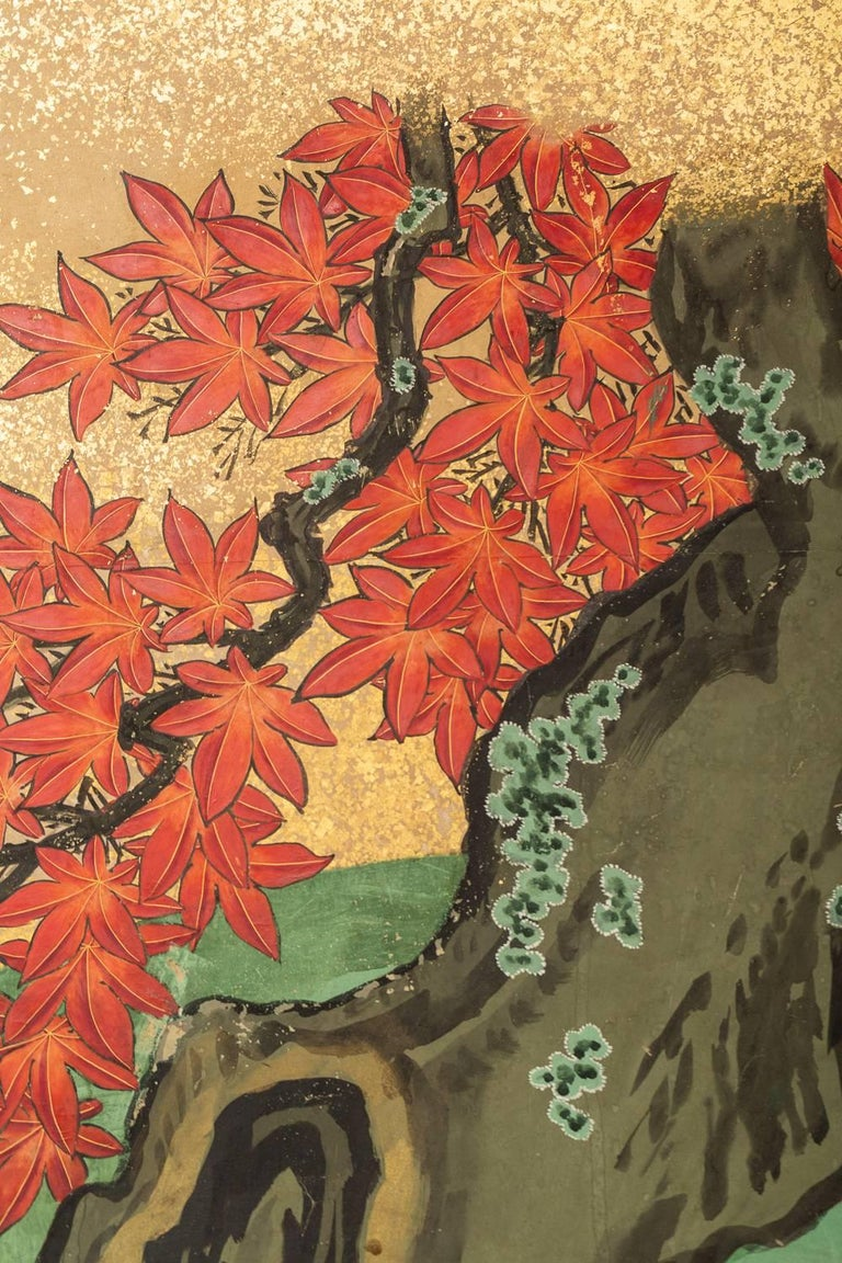 Edo Japanese Six Panel Screen: Pheasants In an Autumn Landscape For Sale