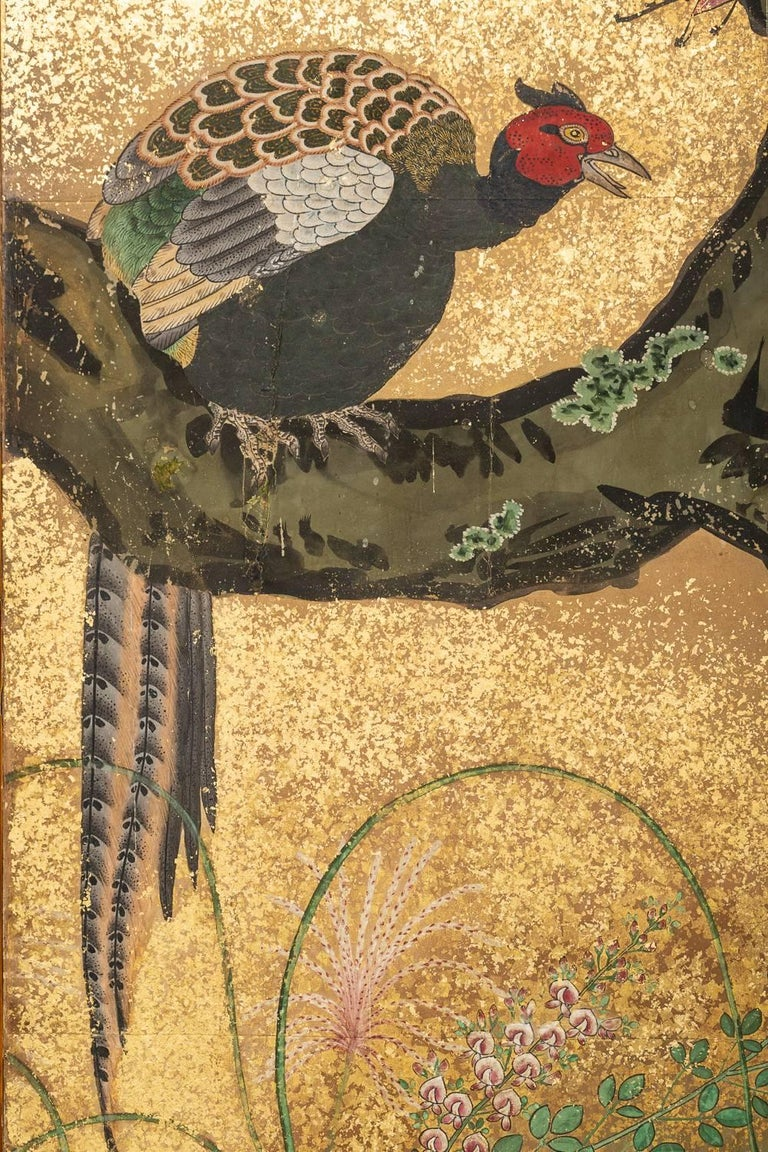 Japanese Six Panel Screen: Pheasants In an Autumn Landscape In Good Condition For Sale In Hudson, NY
