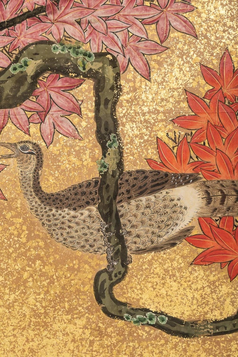 Early 19th Century Japanese Six Panel Screen: Pheasants In an Autumn Landscape For Sale