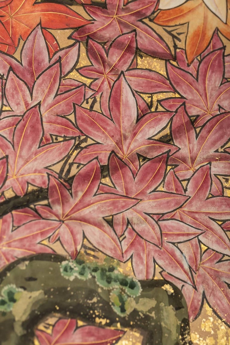 Silk Japanese Six Panel Screen: Pheasants In an Autumn Landscape For Sale