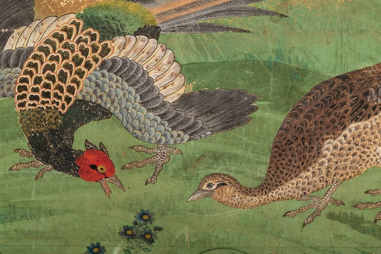 Japanese Six Panel Screen: Pheasants In an Autumn Landscape For Sale 1