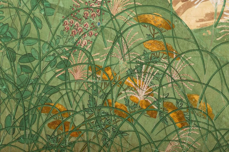 Japanese Six Panel Screen: Pheasants In an Autumn Landscape For Sale 3