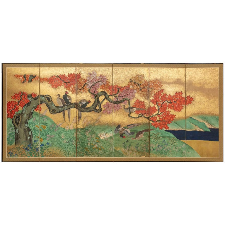 Japanese Six Panel Screen: Pheasants In an Autumn Landscape For Sale