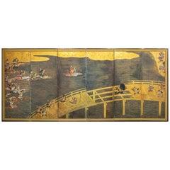 Japanese Six Panel Screen, Battle at Uji Bridge