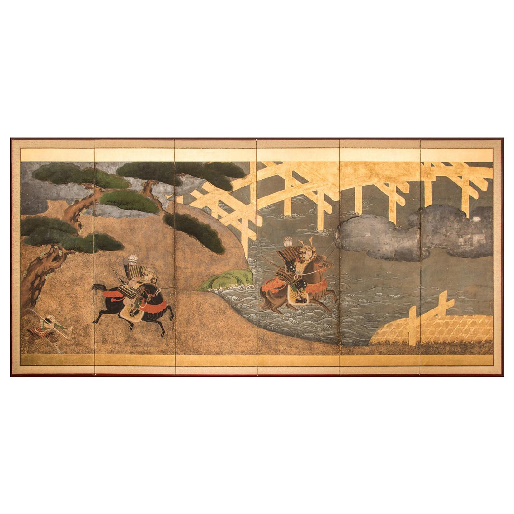 Japanese Six Panel Screen Battle of Uji Bridge