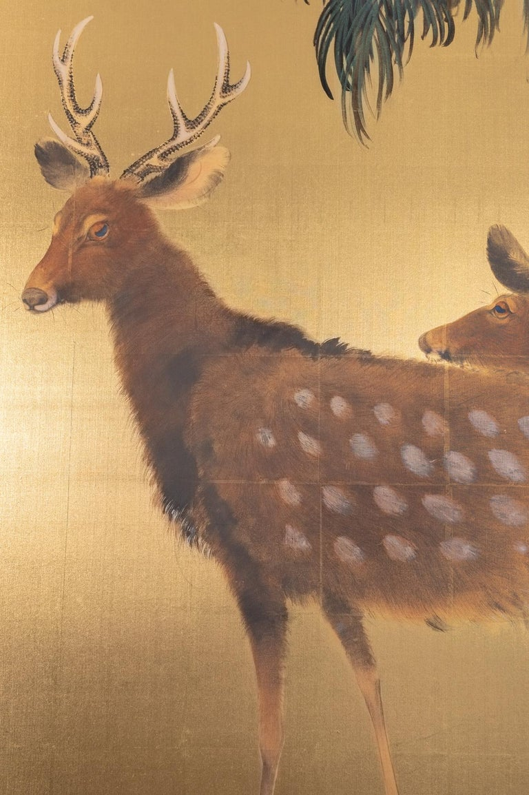 Japanese six-panel screen: Buck and doe at dawn. Showa period (1926-1989) painting of a rising sun seen through a woodland scene with a pair of deer. In Japan, deer are thought to be messengers of the gods. Beautiful use of negative space, minimal