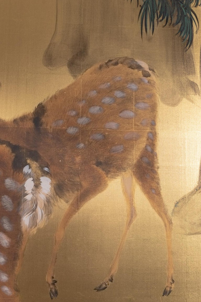 Showa Japanese Six-Panel Screen Buck and Doe at Dawn For Sale