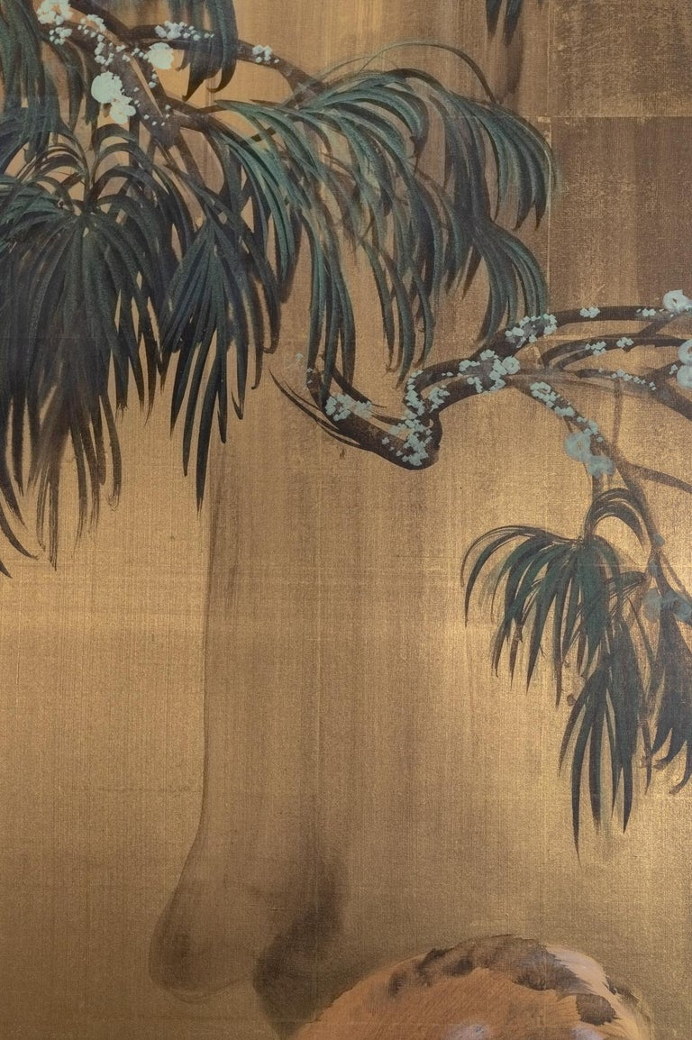 Bronze Japanese Six-Panel Screen Buck and Doe at Dawn For Sale