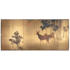 Japanese Six-Panel Screen Buck and Doe at Dawn