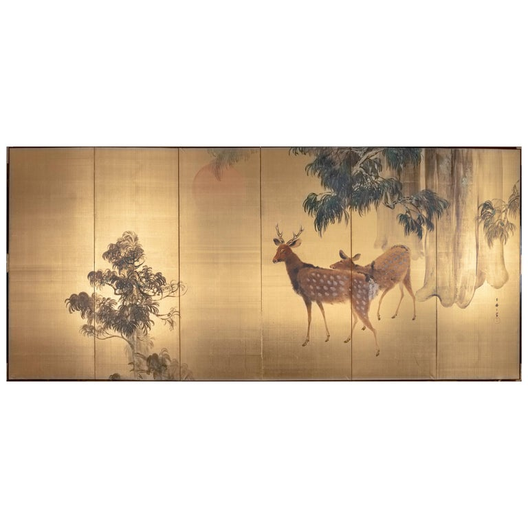 Japanese Six-Panel Screen Buck and Doe at Dawn For Sale