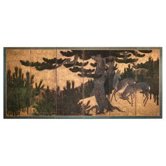 Japanese Six-Panel Screen Buck and Doe in Pine Forest