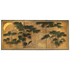 Japanese Six Panel Screen, Chinese Bamboo with Moon and Stars in Gold Leaf