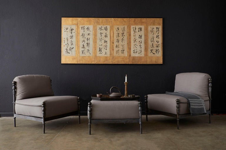 Large Japanese late Meiji period six panel screen featuring six Chinese brush calligraphy poems in semi-cursive script. Ink on handcrafted paper mounted onto gold leaf squares and set in an ebonized frame. The screen is mounted open for displaying