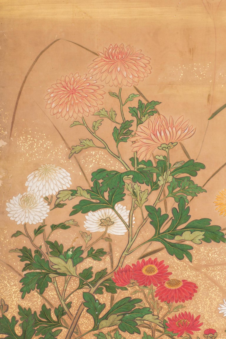 Japanese Six-Panel Screen, Chrysanthemums In Good Condition For Sale In Hudson, NY
