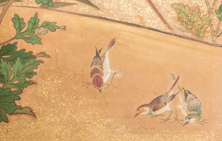 Early 19th Century Japanese Six-Panel Screen, Chrysanthemums For Sale