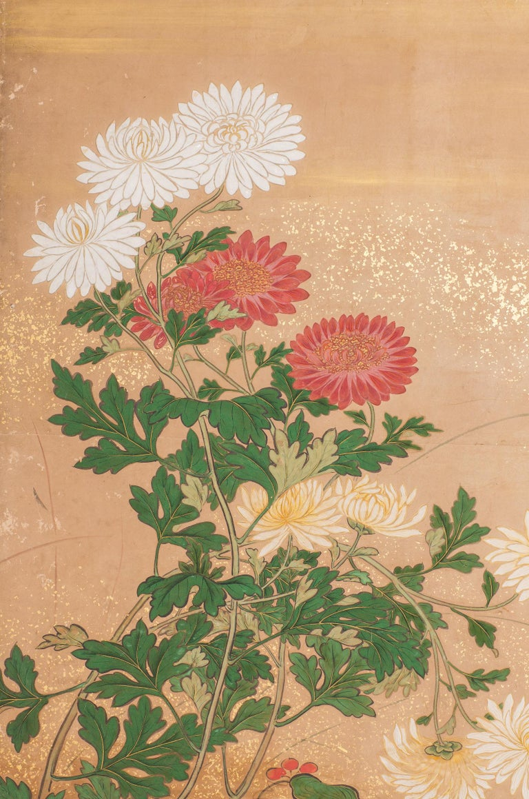 Japanese Six-Panel Screen, Chrysanthemums For Sale 1