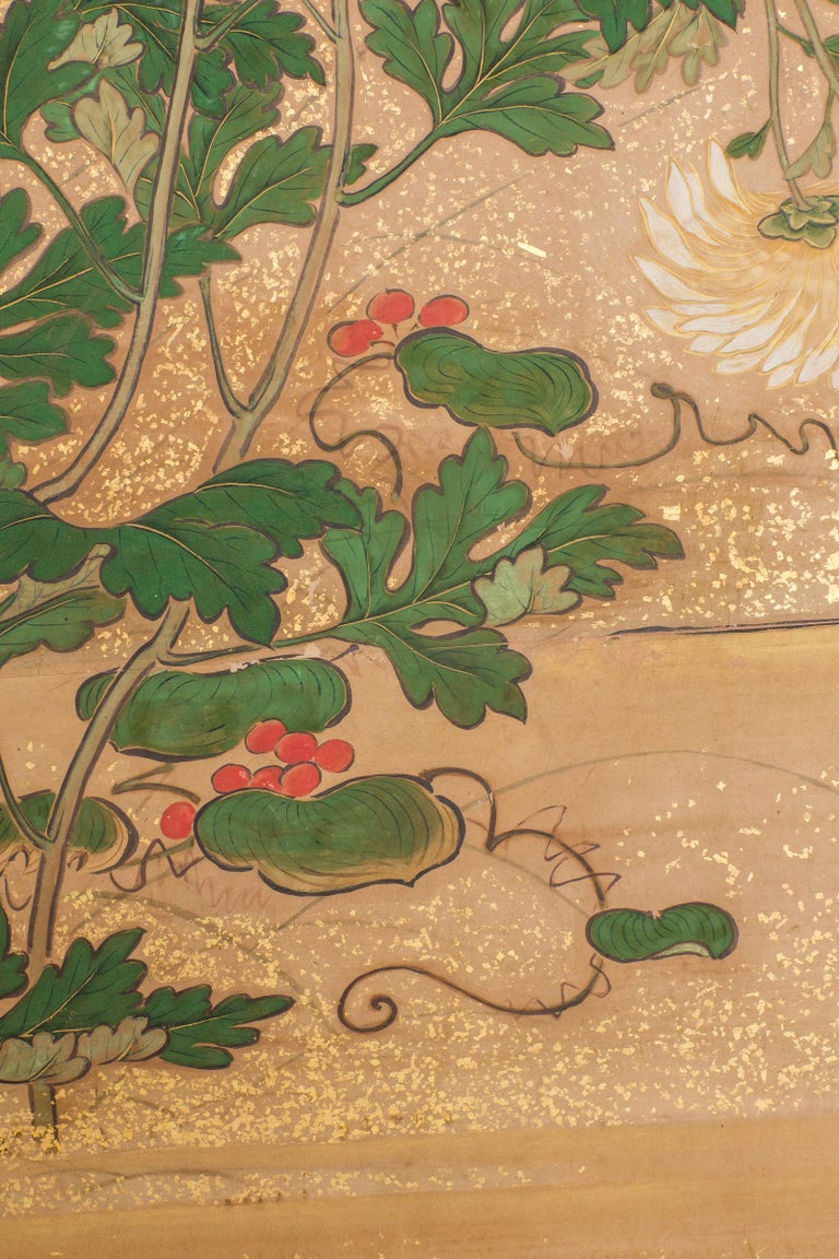 Japanese Six-Panel Screen, Chrysanthemums For Sale 2