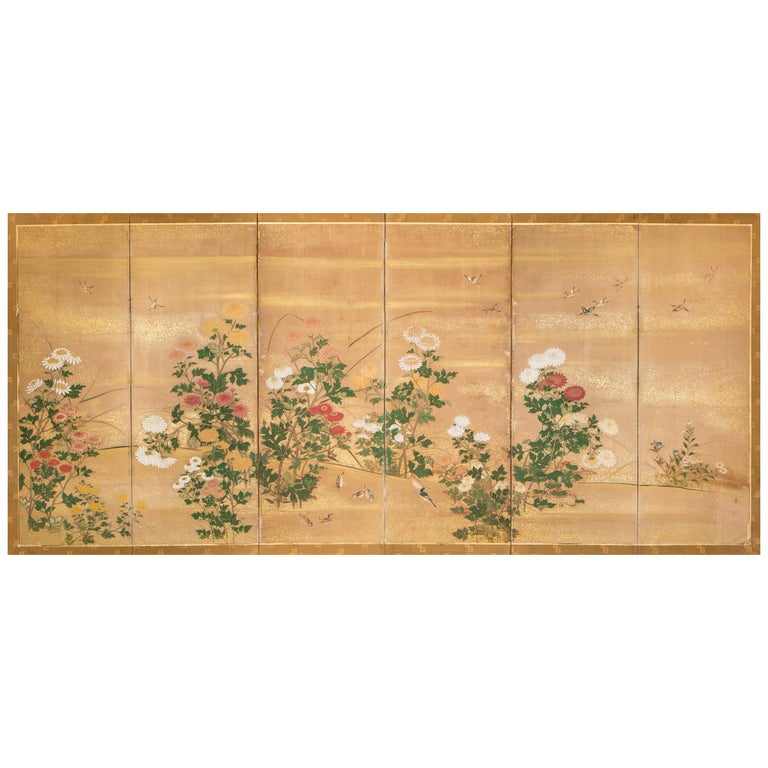 Japanese Six-Panel Screen, Chrysanthemums For Sale