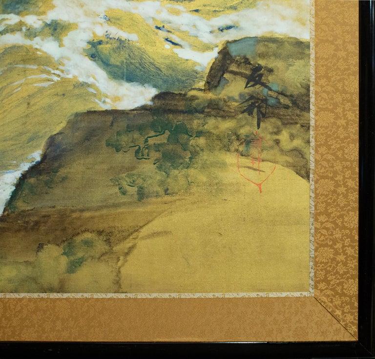 Japanese Six Panel Screen, Craggy Coastal Landscape For Sale 8