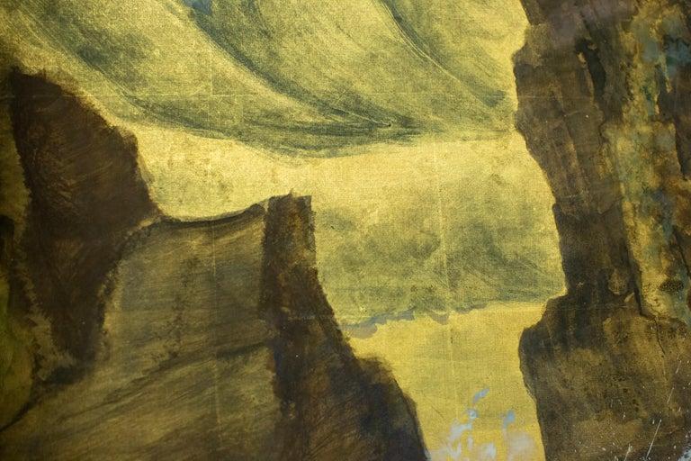 Japanese Six Panel Screen, Craggy Coastal Landscape For Sale 1