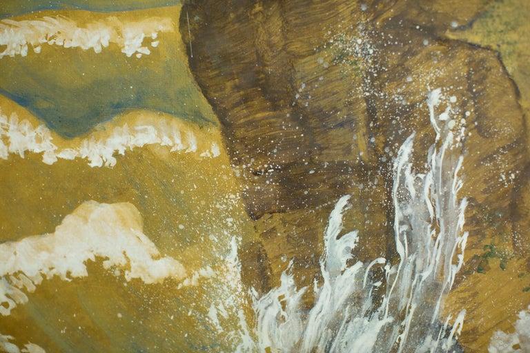 Japanese Six Panel Screen, Craggy Coastal Landscape For Sale 3