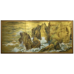 Japanese Six Panel Screen, Craggy Coastal Landscape
