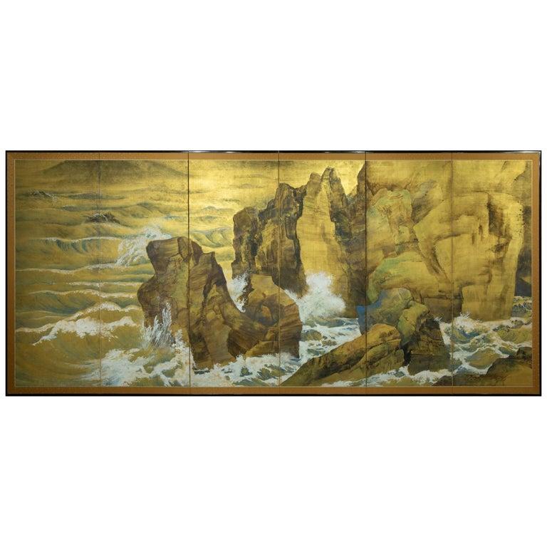 Japanese Six Panel Screen, Craggy Coastal Landscape For Sale