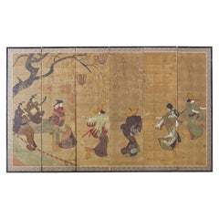 Japanese Six-Panel Screen Edo Dancers and Musicians