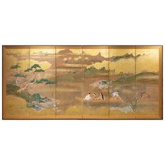 Japanese Six Panel Screen: Glorious Tosa Painting of Lady Murasaki on Lake Biwa