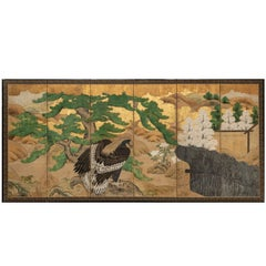 Japanese Six Panel Screen: Hawk with Ancient Pine Overlooking Twig Fence