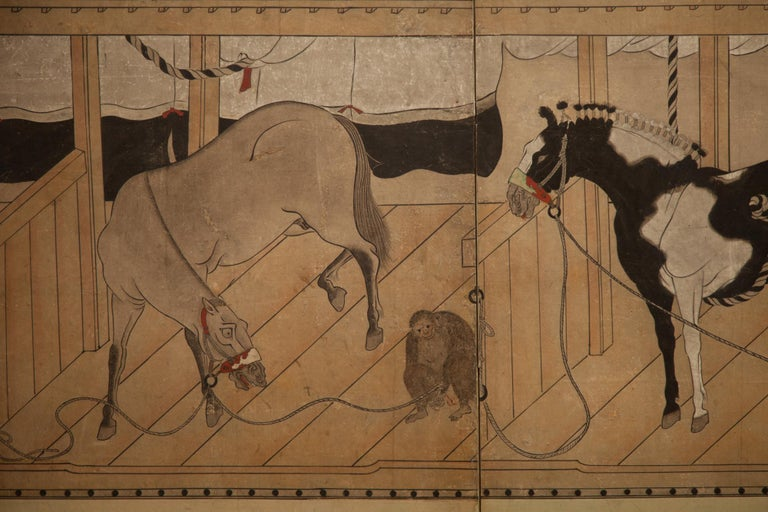 Kano School painting of horses in stabile, with a monkey. Mineral pigments on mulberry paper with silk brocade border.