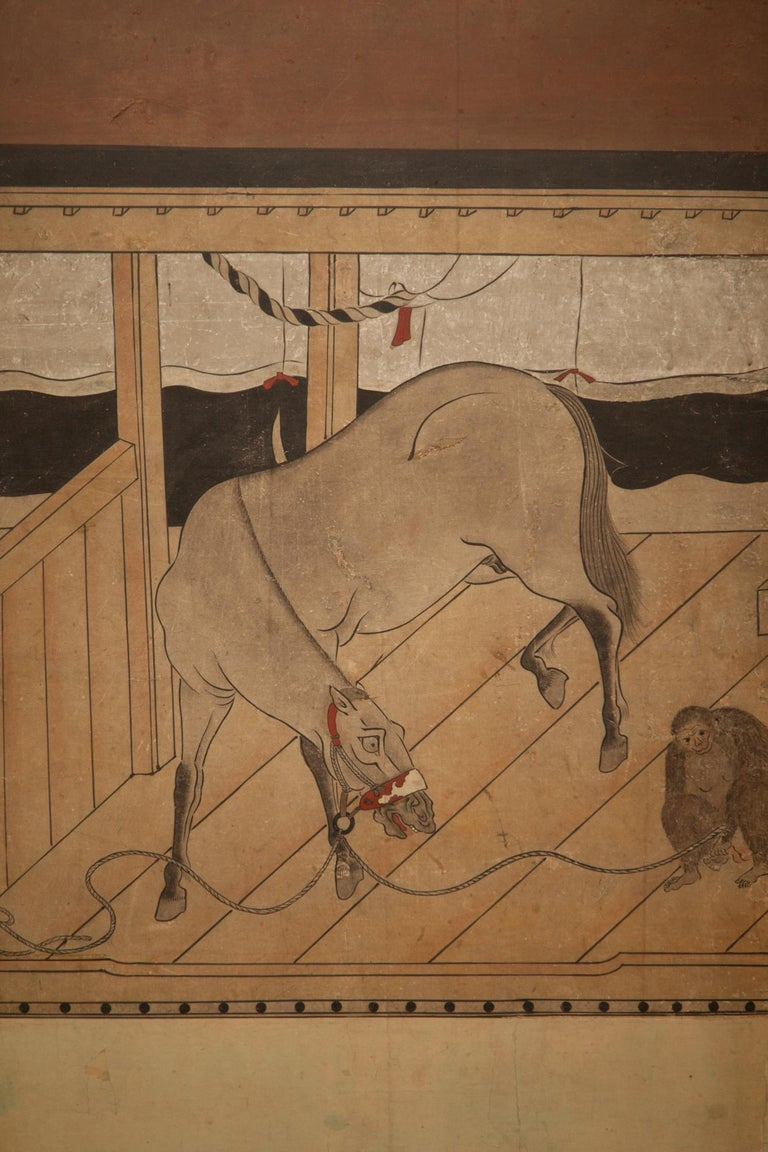 Edo Japanese Six-Panel Screen Horses in Stable For Sale