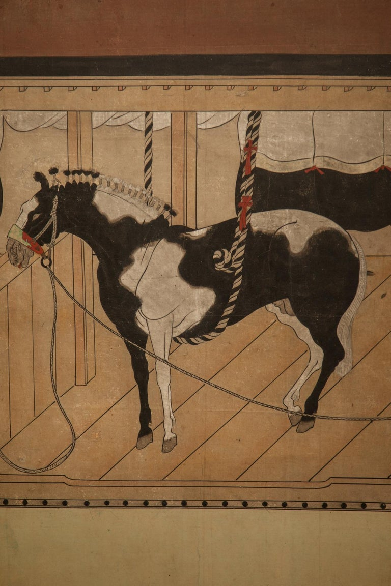 Japanese Six-Panel Screen Horses in Stable In Good Condition For Sale In Hudson, NY