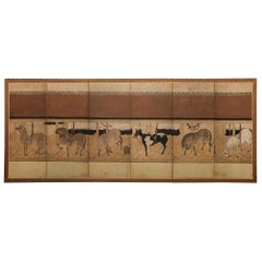 Japanese Six-Panel Screen Horses in Stable