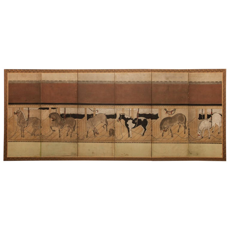 Japanese Six-Panel Screen Horses in Stable For Sale