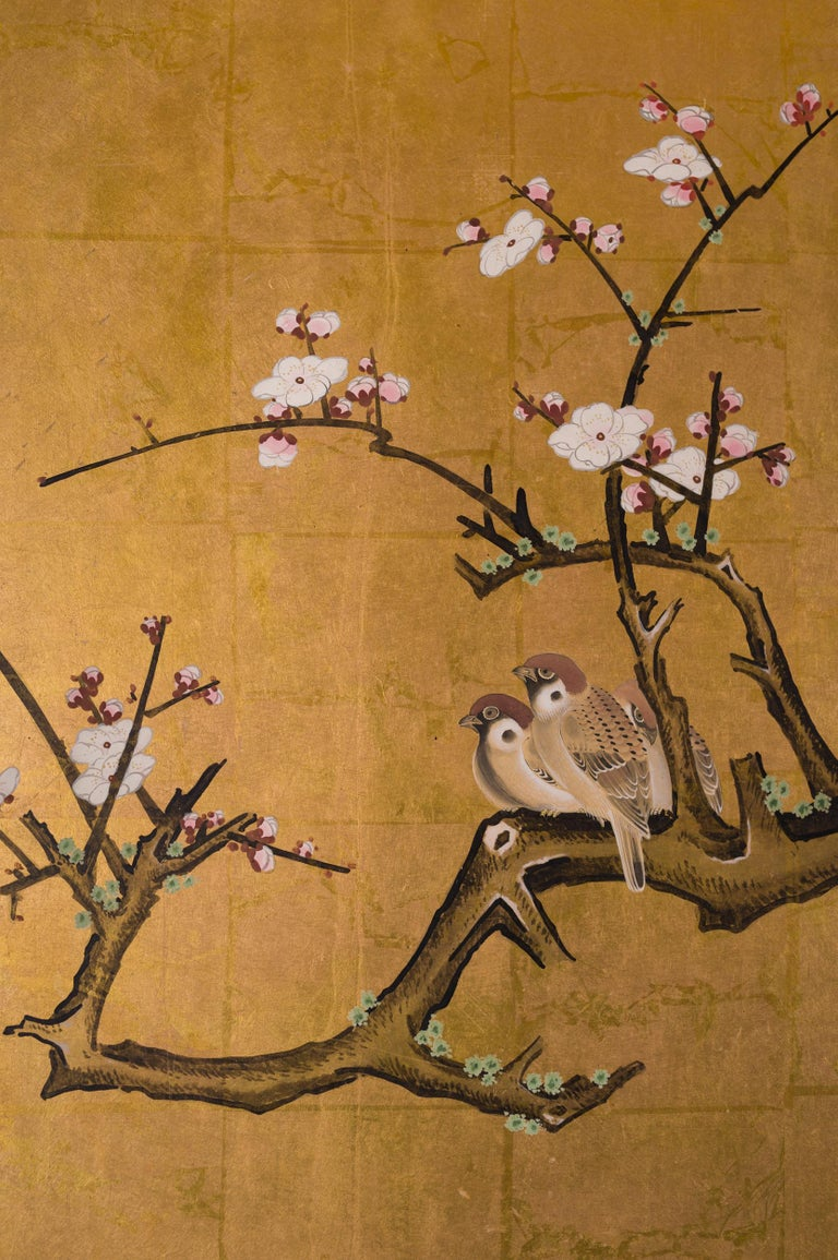 Japanese Six-Panel Screen Late Winter into Early Spring In Good Condition For Sale In Hudson, NY
