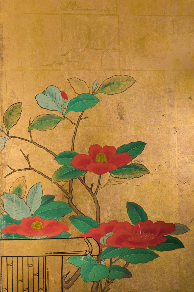 Silk Japanese Six-Panel Screen Late Winter into Early Spring For Sale