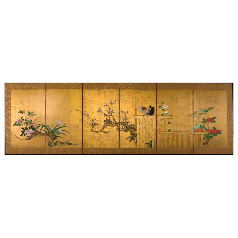 Japanese Six-Panel Screen Late Winter into Early Spring For Sale